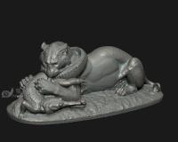 老虎大战鳄鱼,狮子动物石膏像雕像青铜像雕塑