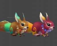 小松鼠两只,榛子项链,花松鼠,变异松鼠