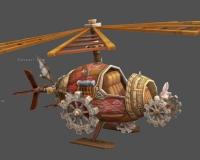 飞艇,飞船,木船,木头螺旋桨,巨型齿轮