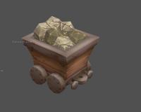 矿车,矿石,金矿石头,四轮车,木头运输车