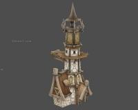 卡通小房子,塔楼,锅炉房