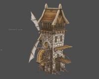 卡通小房子,大门,塔楼,风车,闸门