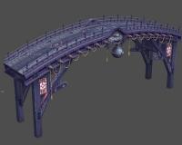 奈河桥,古代木桥,木头桥,木板桥,兽头,兽首,大铜铃铛