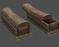 古代棺材,开、关、破损三种状态,木棺材,木头棺椁