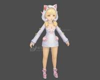 猫女,猫耳装,金发女孩,可爱小女孩,白色毛衣裙,金发公主,小萝莉,猫耳朵帽子