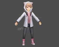 猫男,猫耳装,可爱小男孩,猫耳朵帽子,时尚男孩,卫衣男孩3d模型