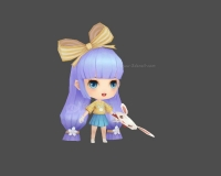 可爱小女孩,长发女孩,小妹妹,蓝发小女孩,小萝莉3d模型