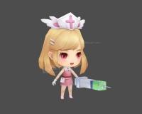 可爱小女孩,女护士时装,小护士,长发女孩,小妹妹,金发小女孩,小萝莉3d模型